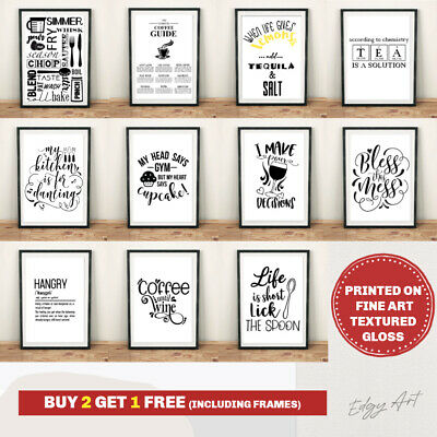 Kitchen Prints FINE ART QUALITY Wall Art Poster. Quotes Funny Home Room Picture • 3.59£