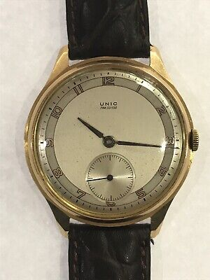 $ CDN1059.15 • Buy Vintage UNIC Fab Suisse 18K Solid Yellow Gold 15 Rubis Manual Wind Cal 176 Watch