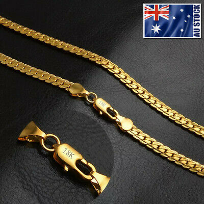 AU14.95 • Buy 18K Yellow Gold GP 5MM Flat Curb Chain Solid Link Necklace Mens & Womens Gift
