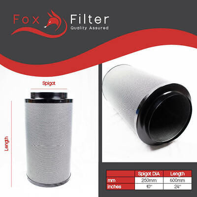 Hydroponic Fox Carbon Filter 10  INCH 250mm / 600mm Extractor Fan Grow Room Tent • 100.05£