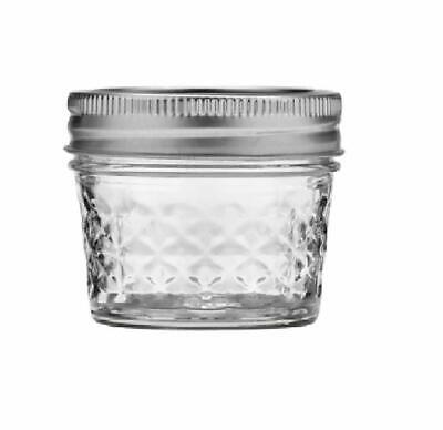 Mason Ball Jelly Jars-4 Oz. Each - Quilted Crystal Style - Set Of 12 • 43.89$