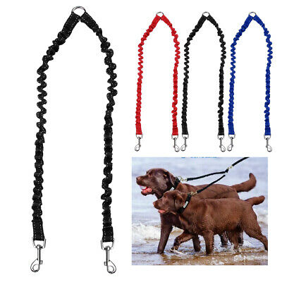 AU9.39 • Buy 2 Way Bungee Dog Double Lead Coupler/Splitter Leash For Twin Dogs Red Blue Black