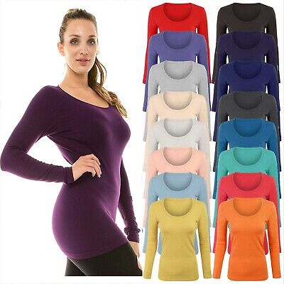 £5.95 • Buy Plus Size Womens Long Sleeve Stretchy Jersey T Shirt Top Ladies Scoop Neck Tee