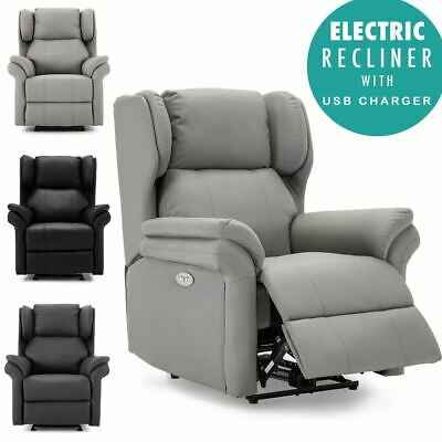 £359.99 • Buy Oakford Electric Bonded Leather  Auto Recliner Wing Back Lounge Chair With Usb