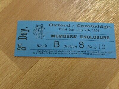 Oxford V Cambridge 1906 Original MCC Annual University Cricket Match Ticket • 12.99£