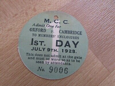 Oxford V Cambridge 1928 Original MCC Annual University Cricket Match Ticket No 1 • 8.99£