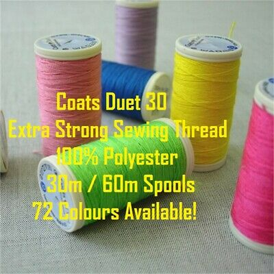 £1.95 • Buy Coats Duet 30 - Polyester - Extra Strong Sewing Thread - 30m / 60m - 72 Colours