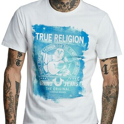 True Religion Men's Painted Buddha Fashion Tee T-Shirt In White • 22.62£