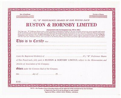 Ruston & Hornsby Share Certificates • 5£