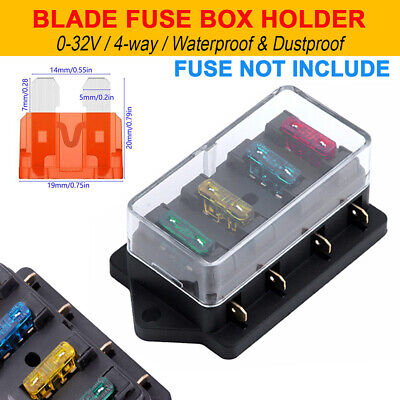 4-way 12v 24v standard car marine blade fuse box block cover with led  indicator