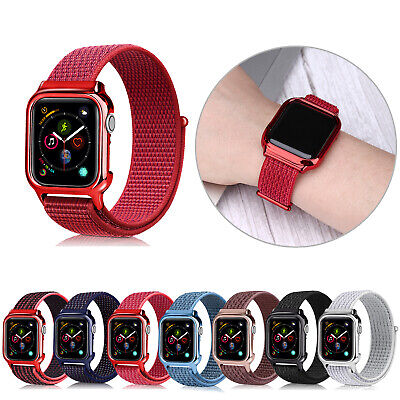 AU11.21 • Buy 40/44mm Nylon Sport Loop+PC Case IWatch Band Strap For Apple Watch Series 6 5 4