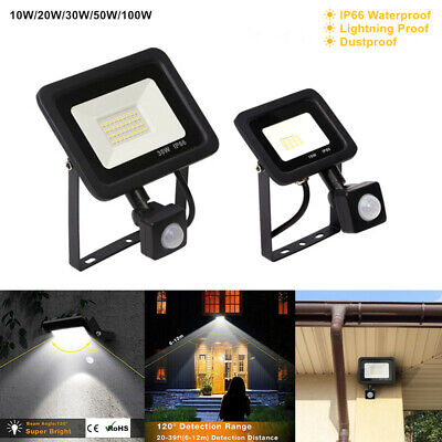Slim LED Security Floodlight Outdoor Garden PIR Motion Sensor Wall Flood Lights • 11.99£