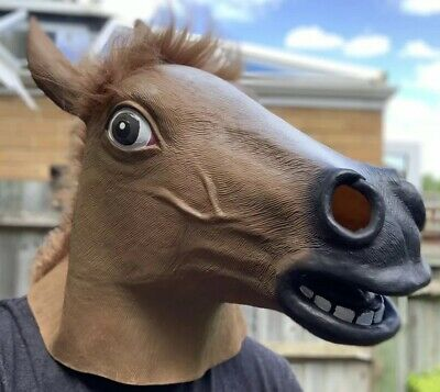 £4.99 • Buy Horse Mask Overhead Mask - Fancy Dress Head Costume Rubber Brown Funny Animal