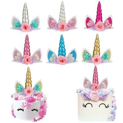 AU10.31 • Buy Birthday Cake Topper Gold Unicorn Horn& Ear Set Party Supplies Decoration Chic