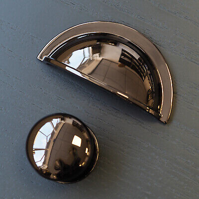 Black Nickel Gloss Cup Handle & Knob | For Furniture, Kitchens, Cabinets | • 1.69£