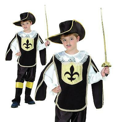 Child Musketeer Costume Boys French Cavalier Fancy Dress Book Day • 13.99£
