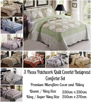 AU60.50 • Buy 3 Pcs Patchwork Quilt Coverlet Bedspread Comforter Set Queen King Super King Bed