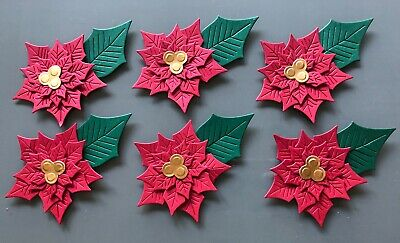 Poinsettia Die Cuts X 6 - Christmas, Card Making, Toppers, Flowers • 2.60£