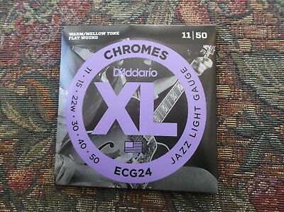 $ CDN21.50 • Buy (01) Set D Addario  Chromes Flat Wound Electric Guitar Strings 11-50 ECG24