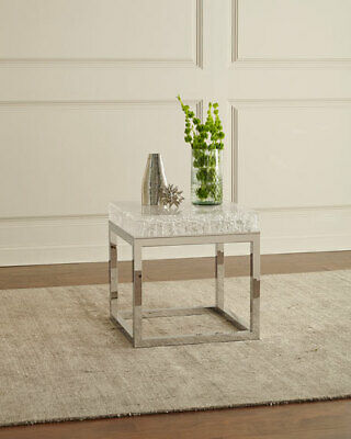 $1019 • Buy Elsa Arctic Acrylic End Table Stainless Steel Base Horchow Neiman Marcus