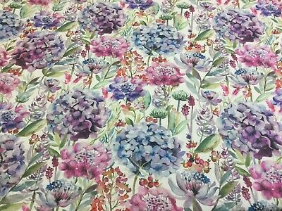 VOYAGE HYDRANGEA , Thick Linen Floral Fabric,Upholstery/Curtains/Blinds/Cushions • 16.95£