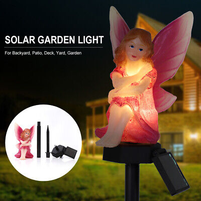 Solar Powered LED Garden Fairy Light Pixie Wings Statue Outdoor Ornament Lamp • 10.79£