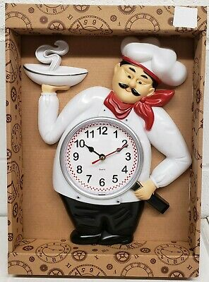 Plastic Wall Clock, App. 10  X 12 , FAT CHEF WITH HOT PLATE & FRYING PAN • 15£
