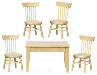 Table & Four Chairs Bare Wood, Dolls House Miniatures, 1.12 Scale, Furniture • 13.99£
