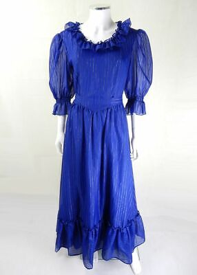 AU85.57 • Buy Original 1970s Vintage Blue Ruffle Maxi Dress UK Size 12, Vintage Clothing
