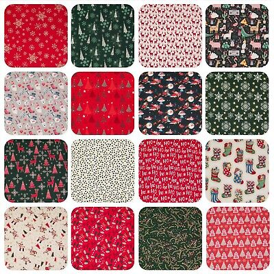100% Cotton Christmas Fabric STAR REINDEER XMAS TREE RED GREEN GOLD Material • 3.45£
