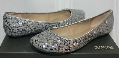$17.95 • Buy Kenneth Cole REACTION Slip Gloss Ballet Flats Silver Fabric Sequin New With Box