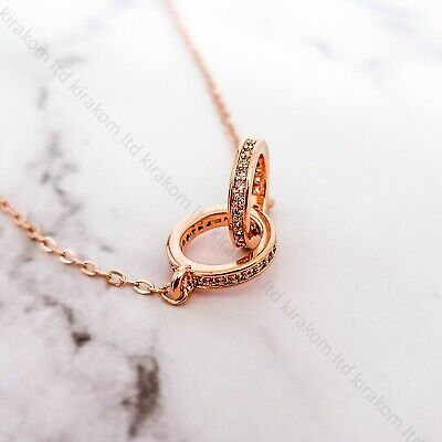 Silver Rosegold Beautiful Double Karma Ring Necklace Elegant + GIFT BOX • 14.99£