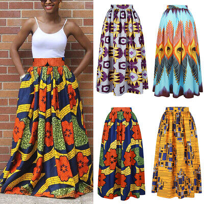 Womens African Print High Waist Party Vintage Ethnic Style Maxi Long Skirt Dress • 12.64£