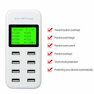 AU30.58 • Buy LCD Display Smart Multiple 8 Port USB Wall Travel Fast Charger Power Adapter New