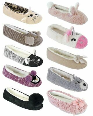 AU14.99 • Buy Womens Ladies Soft Comfy Sherpa/Faux Fur Lined Ballet Pumps Ballerina Slippers