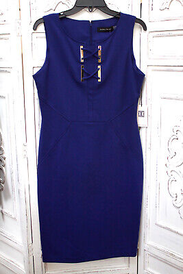 $ CDN37.92 • Buy Ivanka Trump Royal Blue Sleeveless Scuba Sheath Dress Bodycon Size 6 8 10 Nwt