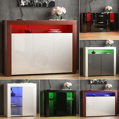 £104.94 • Buy LED Sideboard Buffet Storage Cupboard Cabinet Modern Display Stand High Gloss