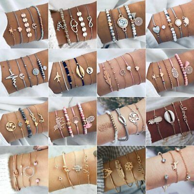 $ CDN1.39 • Buy Fashion Women Boho Chain Bracelets Natural Stone Crystal Bangle Jewelry Set Gift