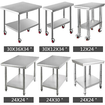 Stainless Steel Work Bench Kitchen Top /Table Wheels Commercial Catering Grade • 73.85£