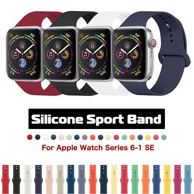 $ CDN4.67 • Buy For Apple Watch Silicone Sport Band Strap IWatch Series 6 5 4 3 SE 38/42/40/44mm