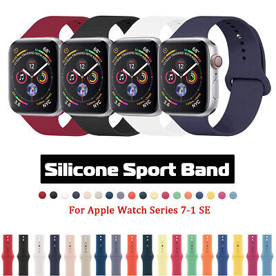 $ CDN4.93 • Buy Silicone Sports IWatch Band Strap For Apple Watch Series 5 4 3 2 38/42mm 40/44mm