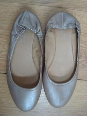Rockport Us 6 M - Uk 3 1/2 Metallic Beige Leather Flat Ballerina Pumps / Shoes • 9£