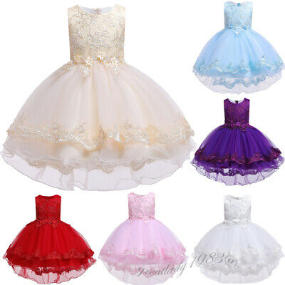 Kids Flower Girl Bridesmaid Dress High Low Bow Formal Tutu Tulle Dresses Pageant • 18.95£