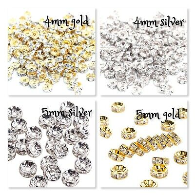 BUY 3 GET 3 FREE 100 Pcs 4mm 6mm 8mm 10mm Rhinestone Beads Spacers Rondelle • 2.99£