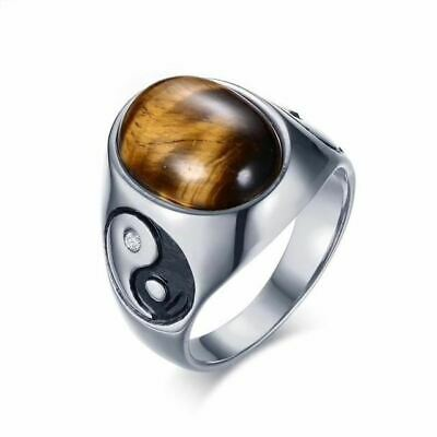 Tigers Eye Yin Yang Stainless Steel Ring Top Quality Jewellery For Men A679 • 9£