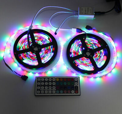$14.95 • Buy 10M 3528 SMD RGB 600 LED Lighting Strips 44 Key Remote Controller For TV, Room