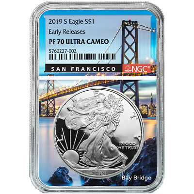 $106 • Buy 2019-S Proof $1 American Silver Eagle NGC PF70UC ER San Francisco Core
