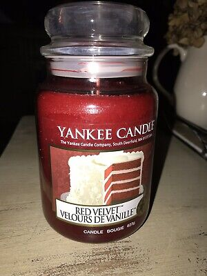 """Yankee Candle """"Red Velvet"""" 22oz Jar Rare And Hard To Find White Deerfield Label • 45.13£"""