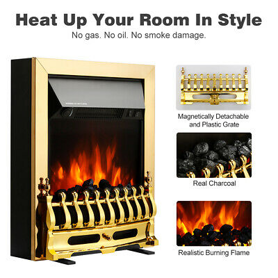 Electric Fireplace Log Burning Flame Effect Stove Fire Flame Heater Modern 2kW • 87.39£