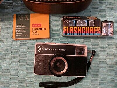 $ CDN55 • Buy Vintage Kodak Instamatic 55-X Camera With Flashcubes And Leather Case